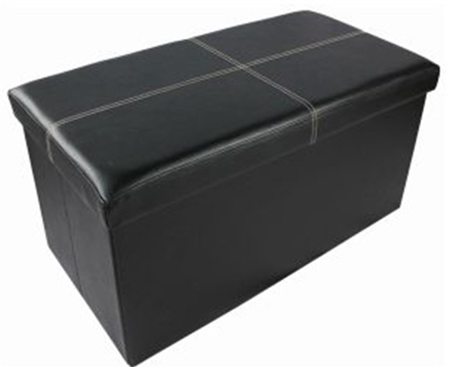 2 Seater Double Folding Storage Faux Leather Ottoman