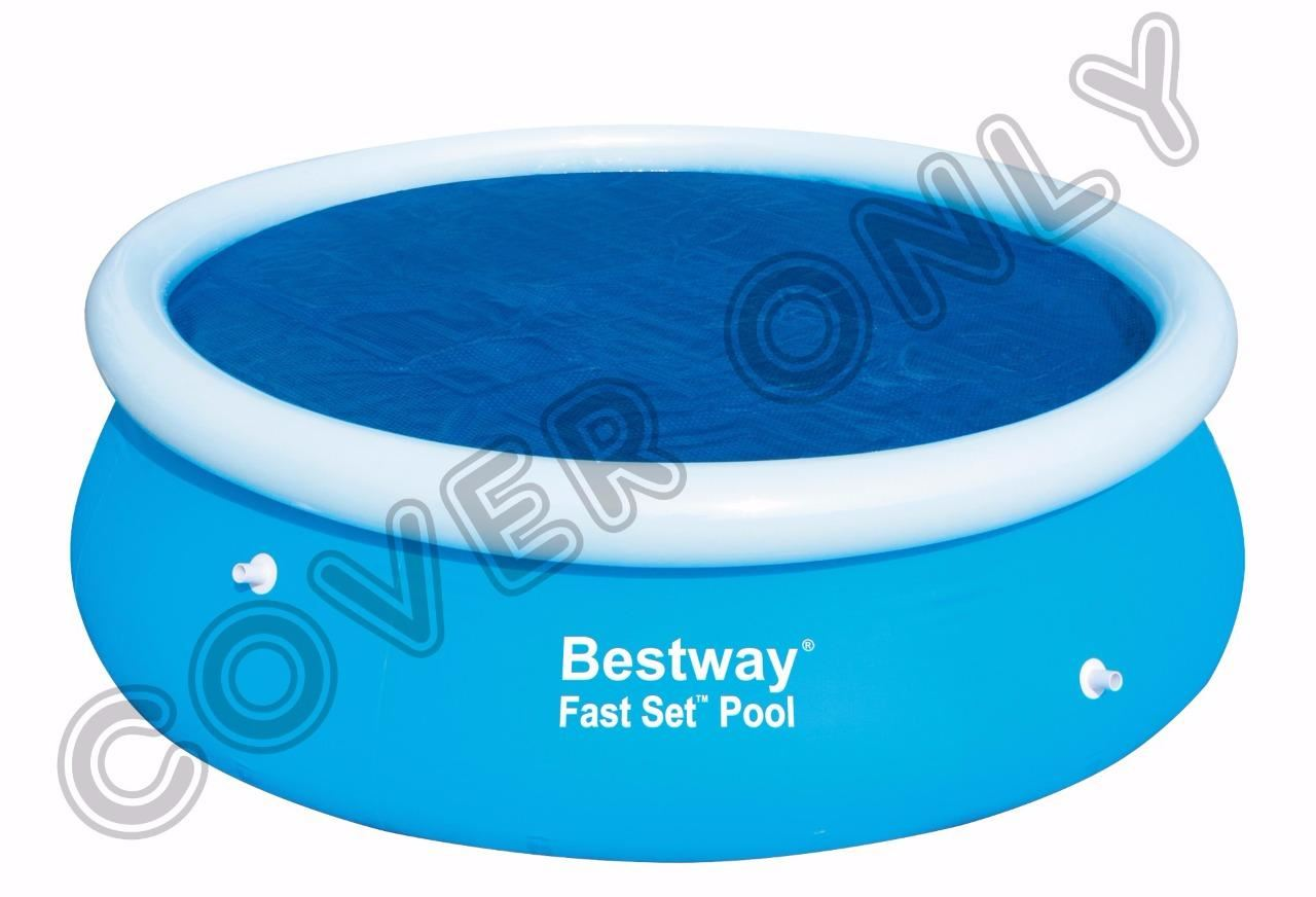 Bestway 8 39 39 ft round solar swimming paddling pool cover sheet for fast set pool ebay for 12ft solar swimming pool covers