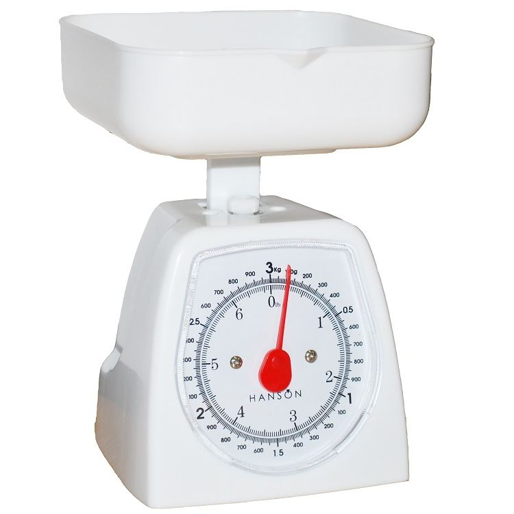 Hanson Measuring Cooking Kitchen Weighing Scales 3kg White