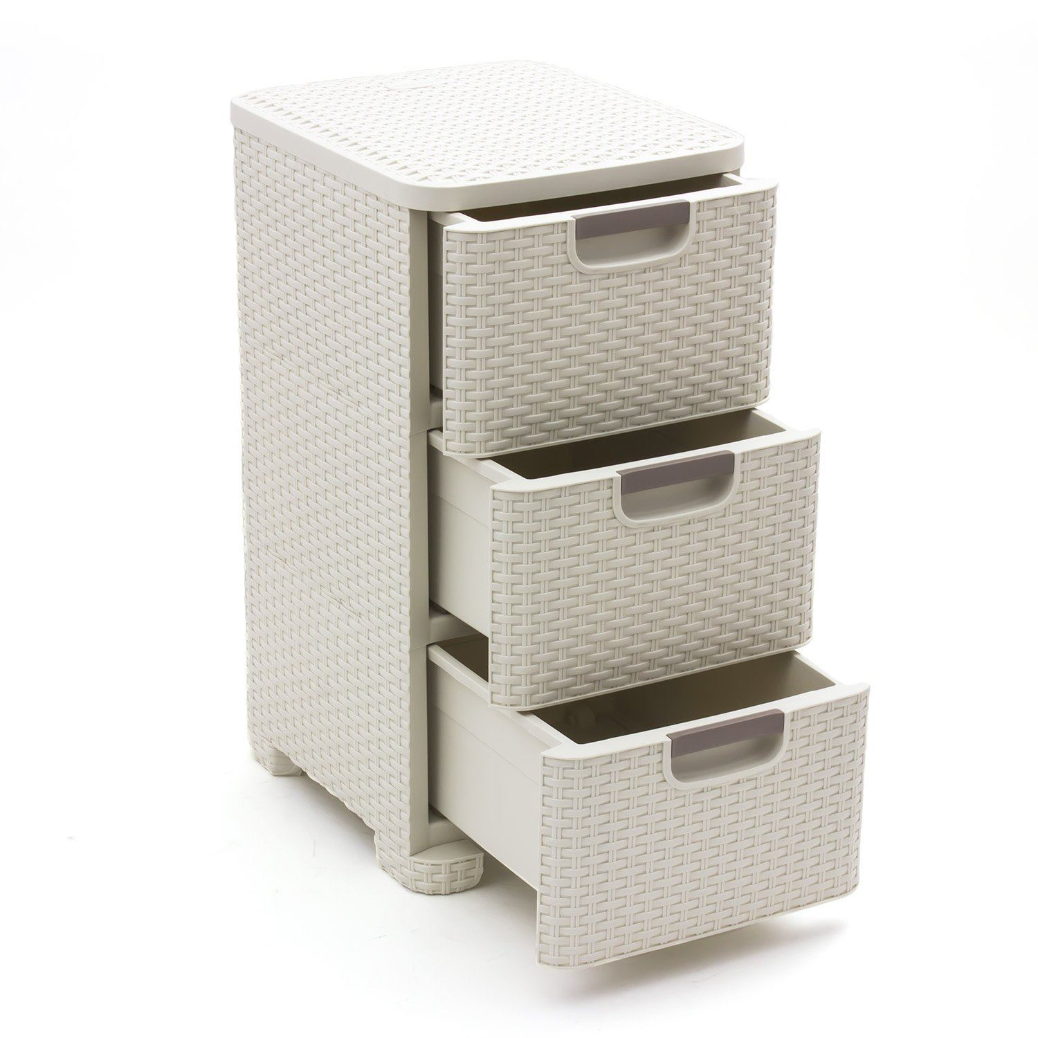 curver rattan 3 tier tower vintage white 14l wicker style drawer storage unit ebay. Black Bedroom Furniture Sets. Home Design Ideas