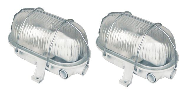 2 X Byron White Oval Bulkhead Light Outdoor Garden