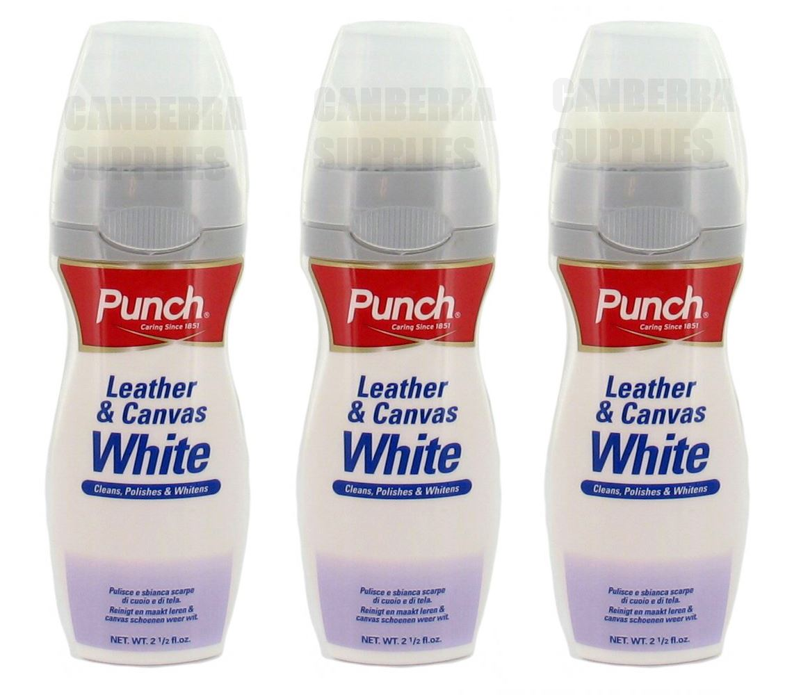 3 x punch leather canvas white cleaner cleans