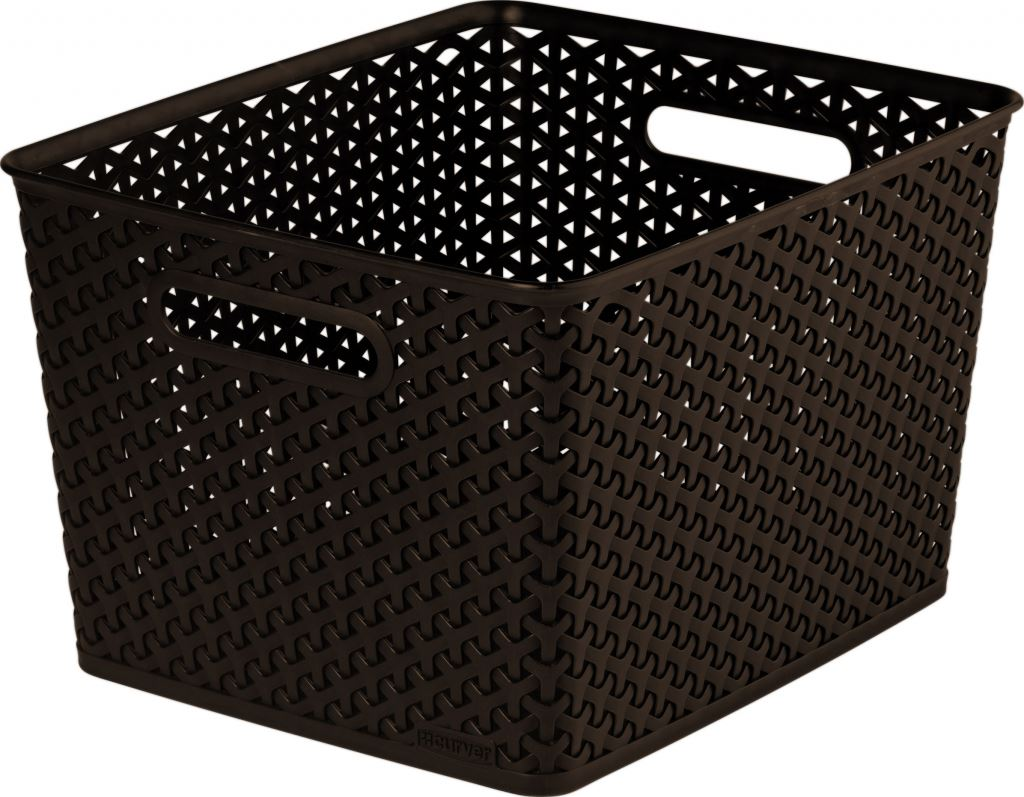 curver faux rattan brown storage organiser wicker style. Black Bedroom Furniture Sets. Home Design Ideas