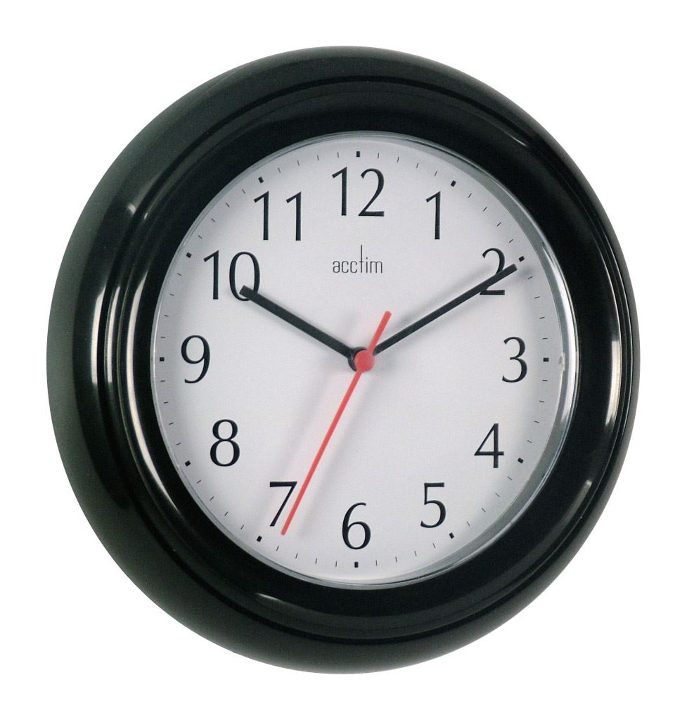 Wycombe Wall Clock Kitchen Bathroom Bedroom Office Black