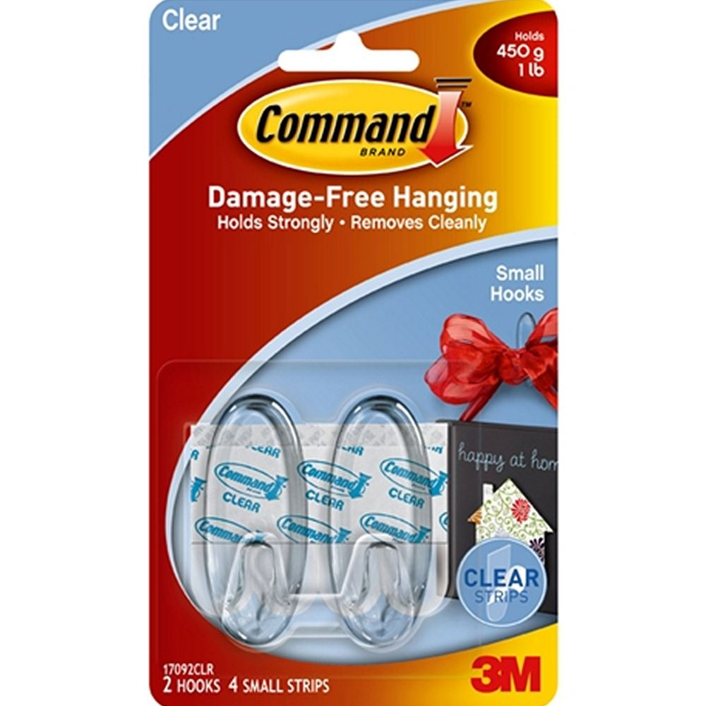 2 x 3m command small clear hanging hooks holds 450g 1lb ebay. Black Bedroom Furniture Sets. Home Design Ideas