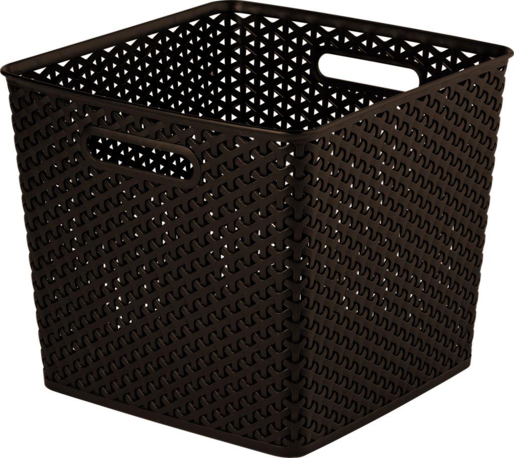curver faux rattan brown storage organiser wicker style box basket 25l ebay. Black Bedroom Furniture Sets. Home Design Ideas