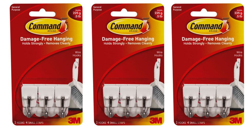 9 x 3m command hooks adhesive hanging hooks strips damage free ebay. Black Bedroom Furniture Sets. Home Design Ideas