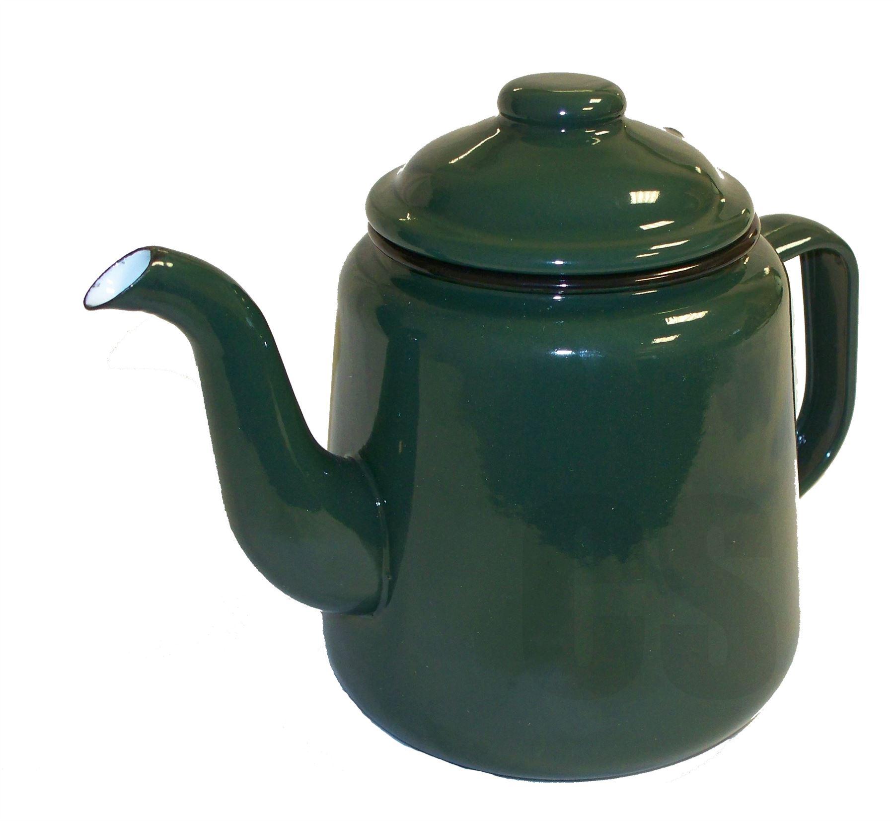 Falcon green enamel tea pot with handle lid teapot l