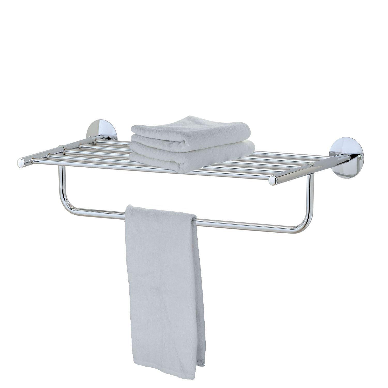 MODERN CHROME QUALITY BATHROOM SHELF TOWEL STAND RACK
