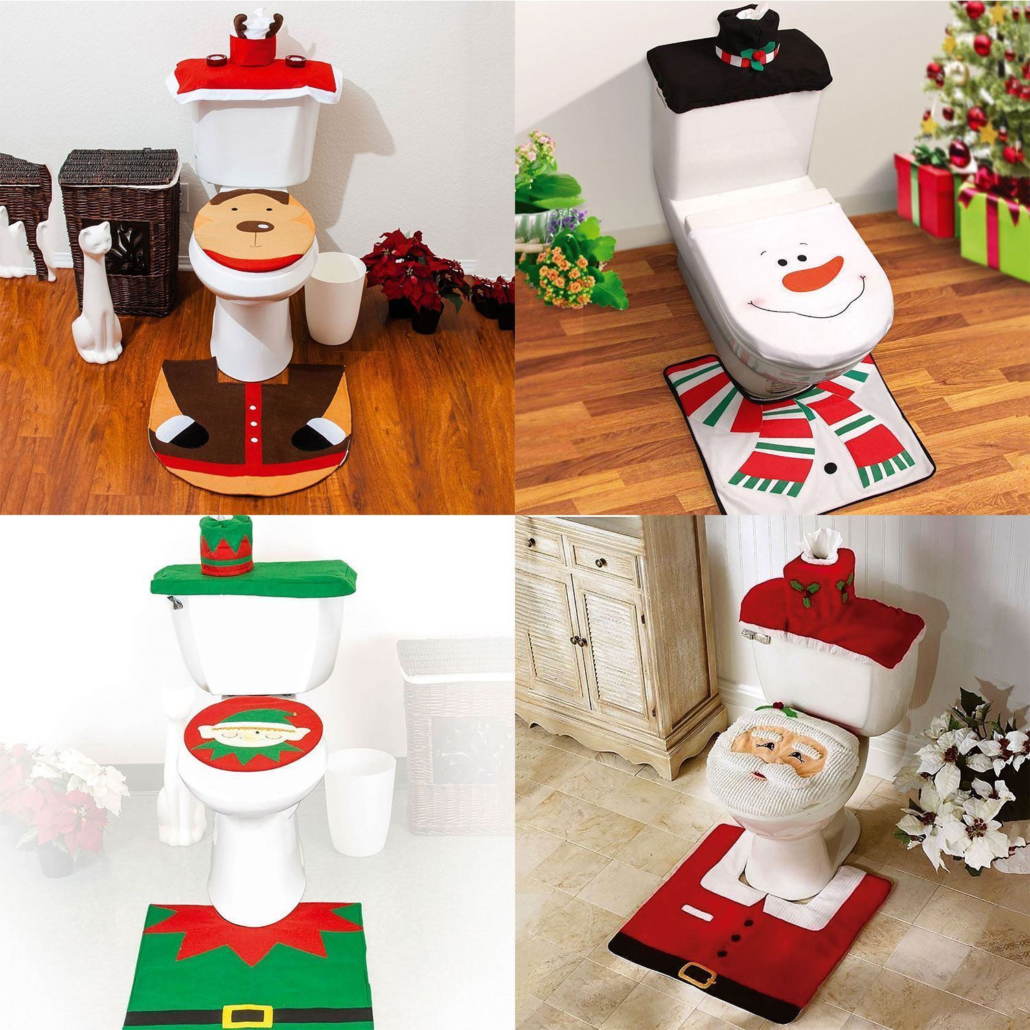 festive santa elf snowman reindeer toilet seat cover bathroom set