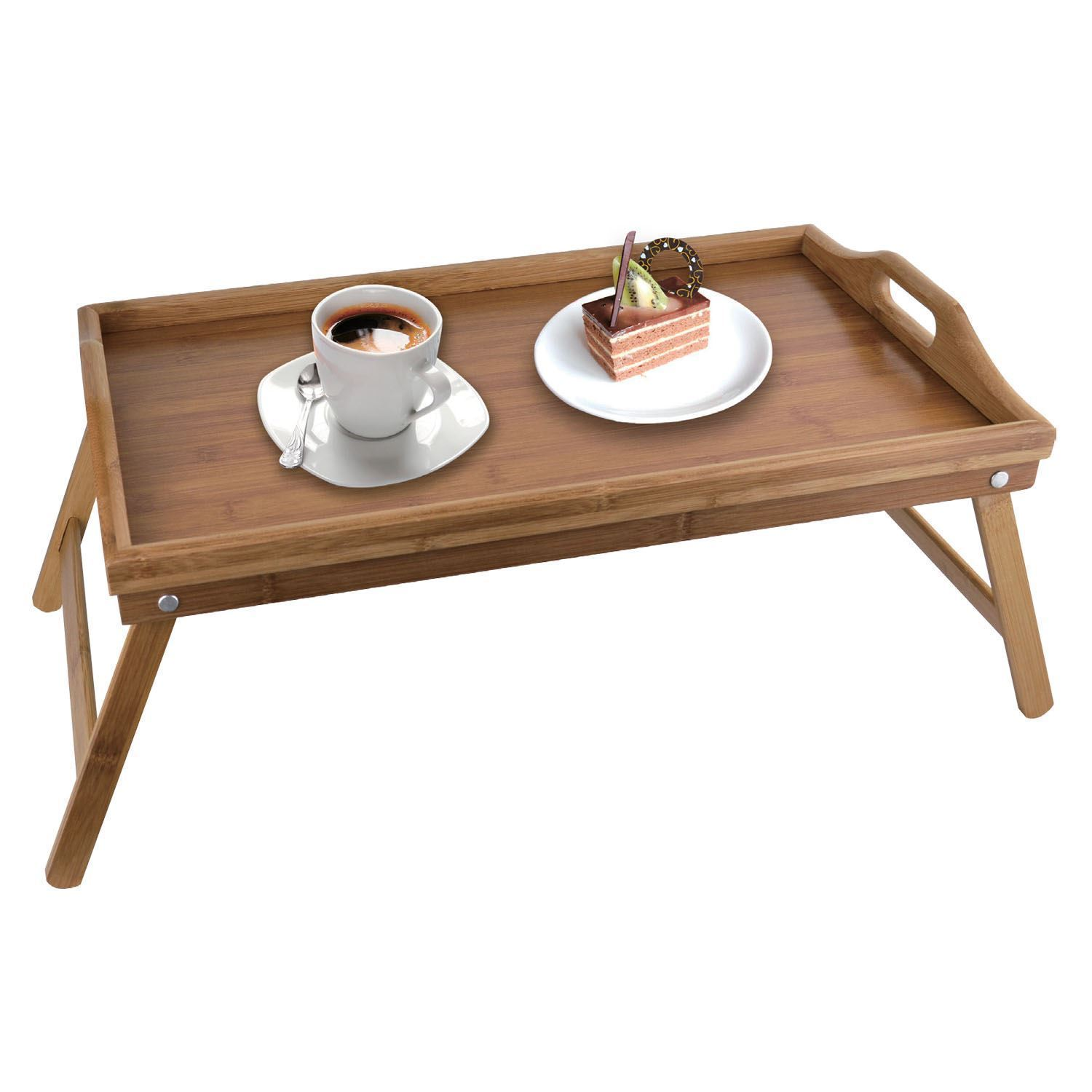 folding bamboo wooden breakfast serving lap tray over bed table with legs ebay. Black Bedroom Furniture Sets. Home Design Ideas