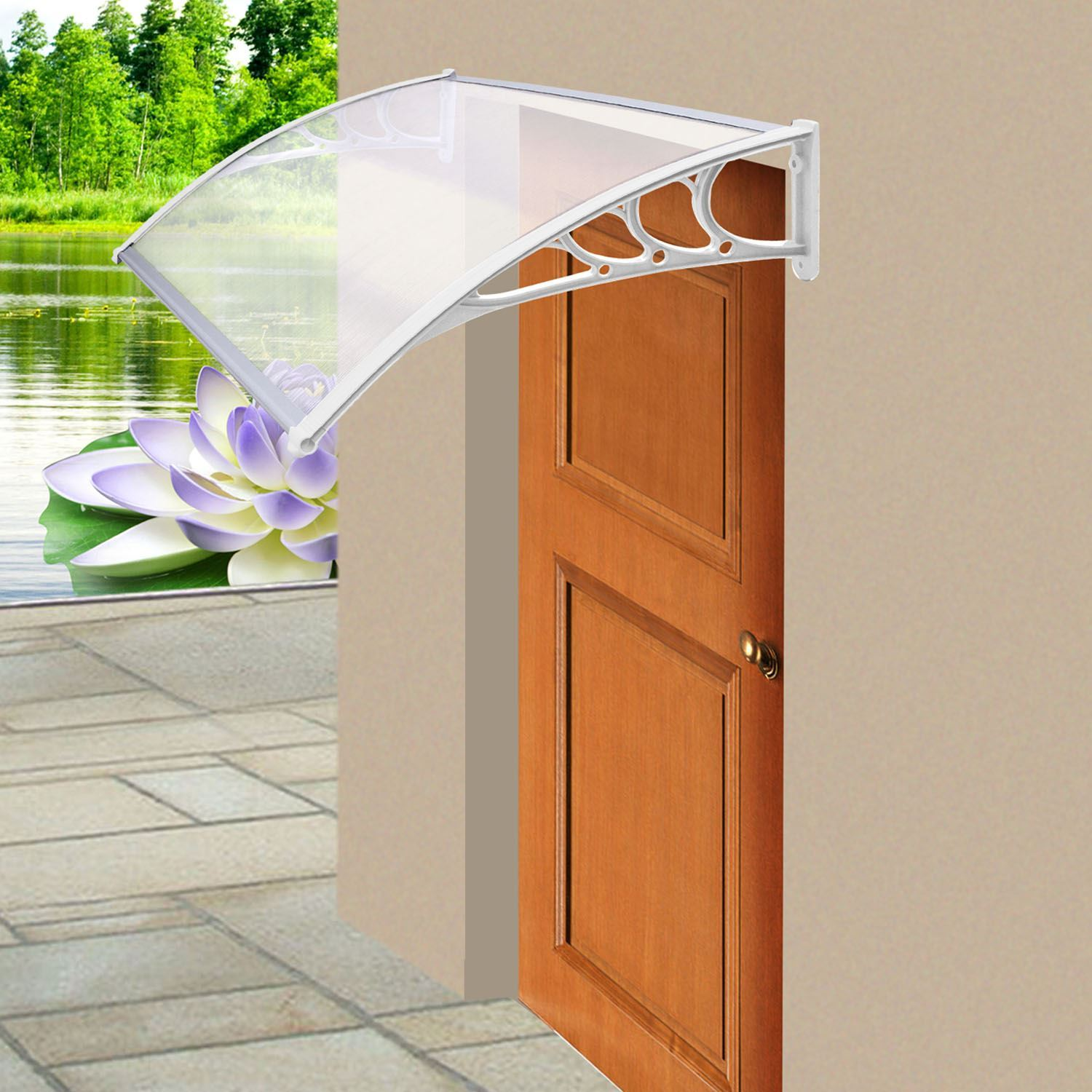 White Back Front Door Porch Canopy Rain Cover Protectir