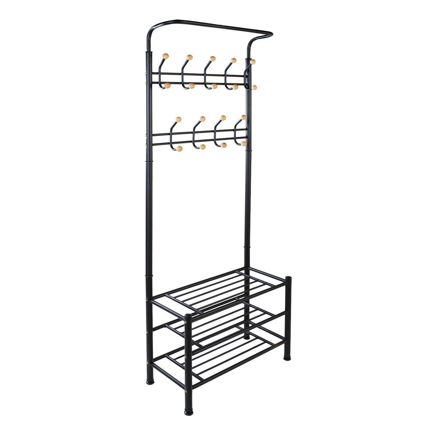 metal hat coat clothes shoe stand steel pipe stand rack shelf hooks hanger ebay. Black Bedroom Furniture Sets. Home Design Ideas