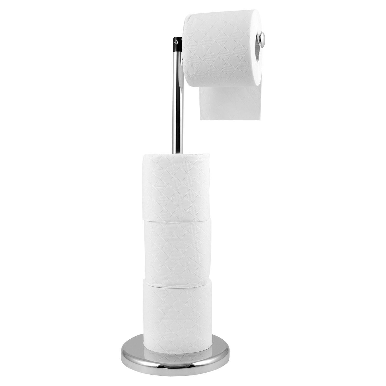 Freestanding Toilet Roll Holder 2 In 1 Chrome Bathroom