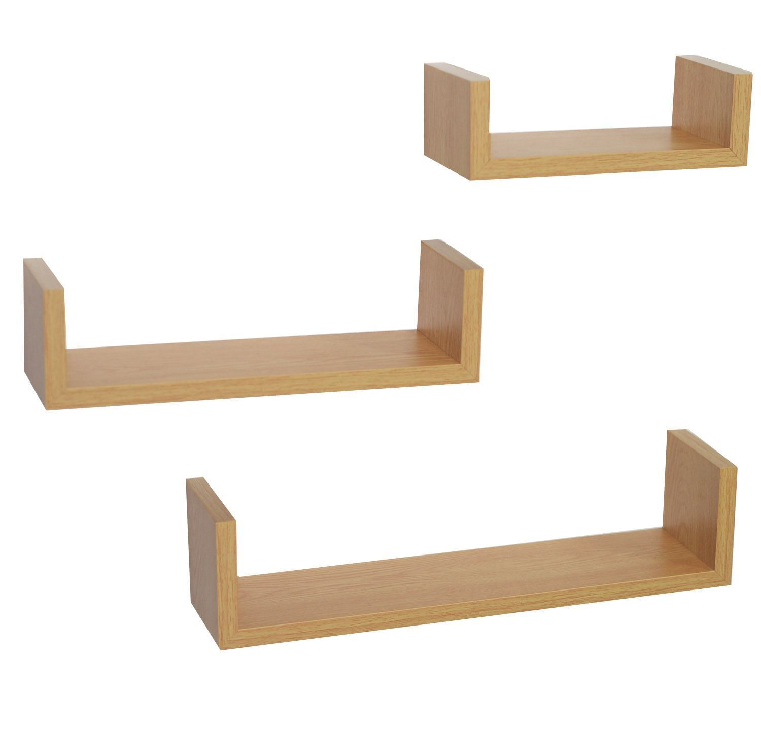 Set of 3 oak u shape floating wall shelves contemporary Modern floating wall shelves
