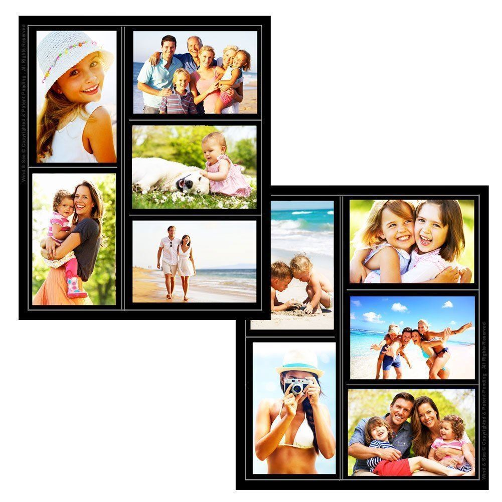 Magnetic pack of 2 refrigerator picture collage frame holds 5 photos black ebay - Simple ways of keeping your home organized using magnetic picture frames ...