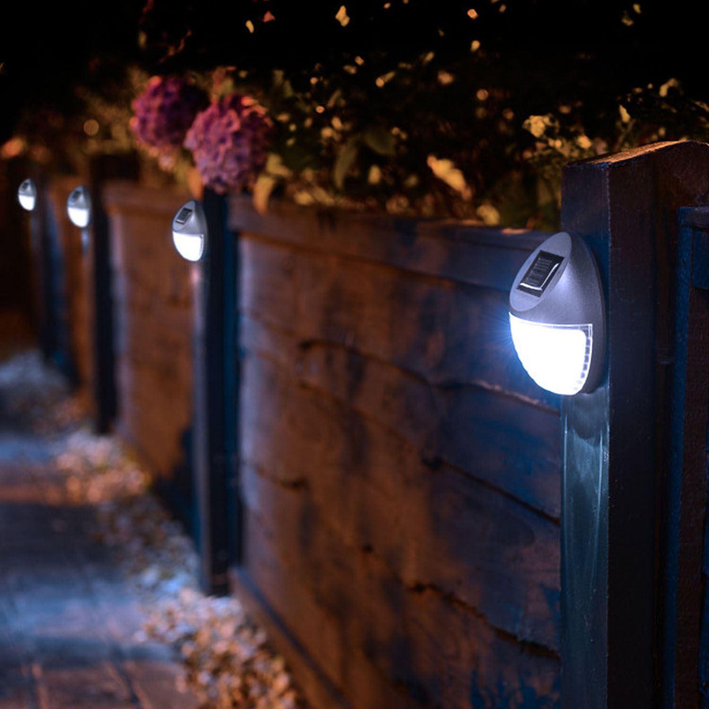 4 x solar garden wall fence step gutter fence lamps. Black Bedroom Furniture Sets. Home Design Ideas