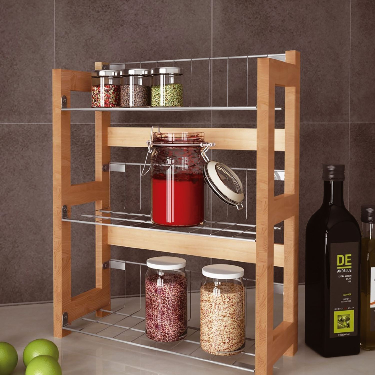 Small Countertop Spice Rack : ... Wall Mounted Standing Spice Jar Rack Kitchen Organiser Tidy eBay