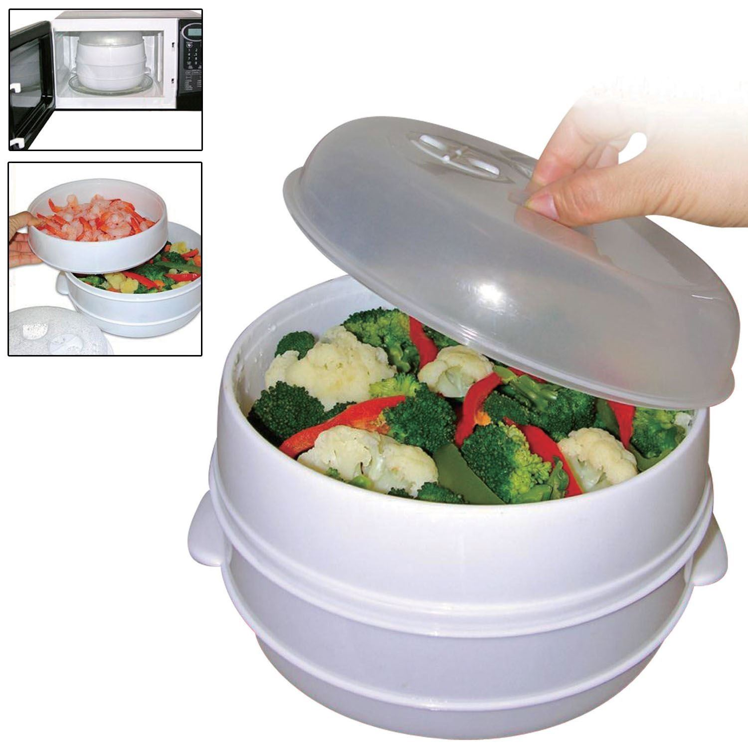 Kitchen Living Food Steamer: Healthy Living Microwave 2 Tier Steamer Cooker For