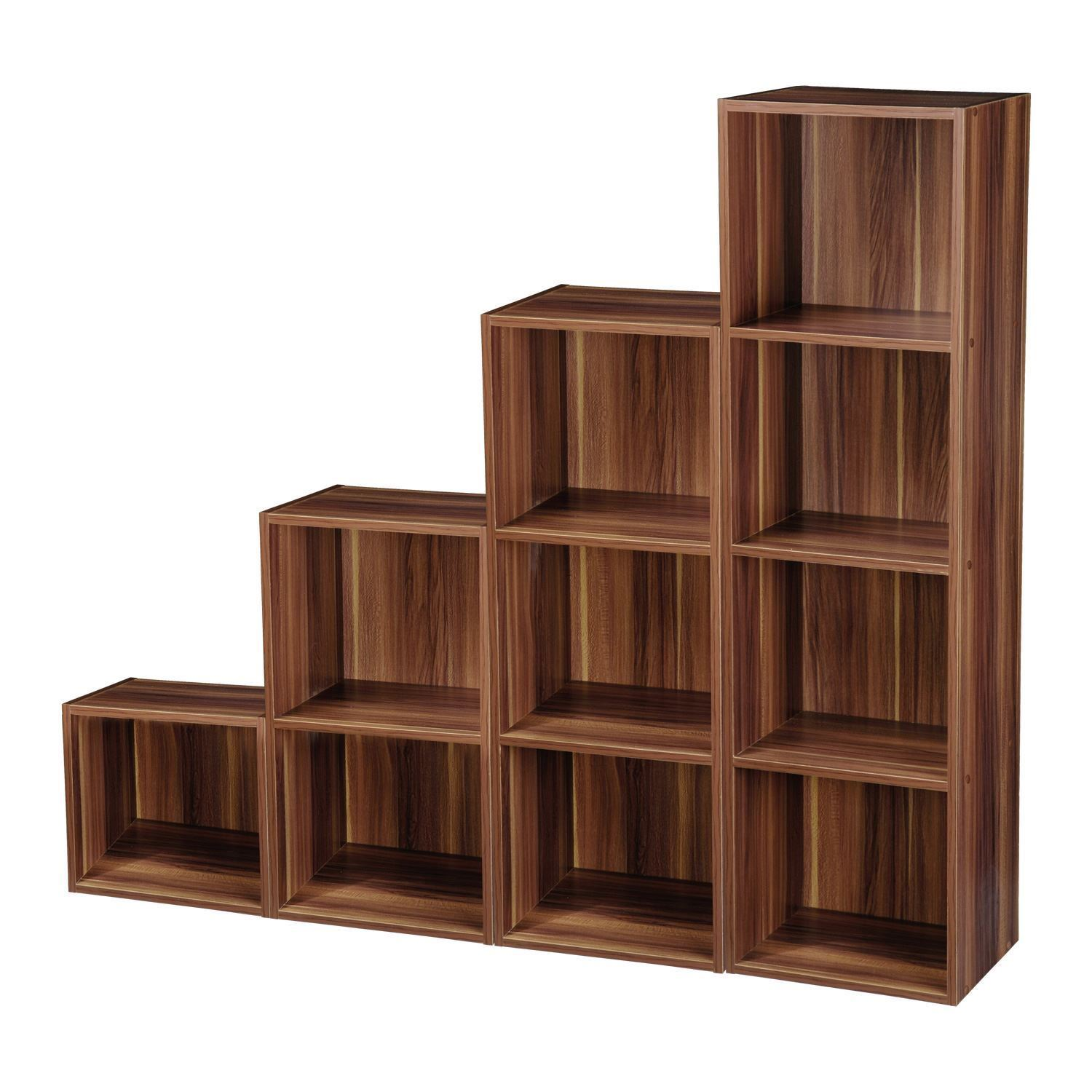 TIER WOODEN BOOKCASE SHELVING BOOKSHELF STORAGE FURNITURE CUBE