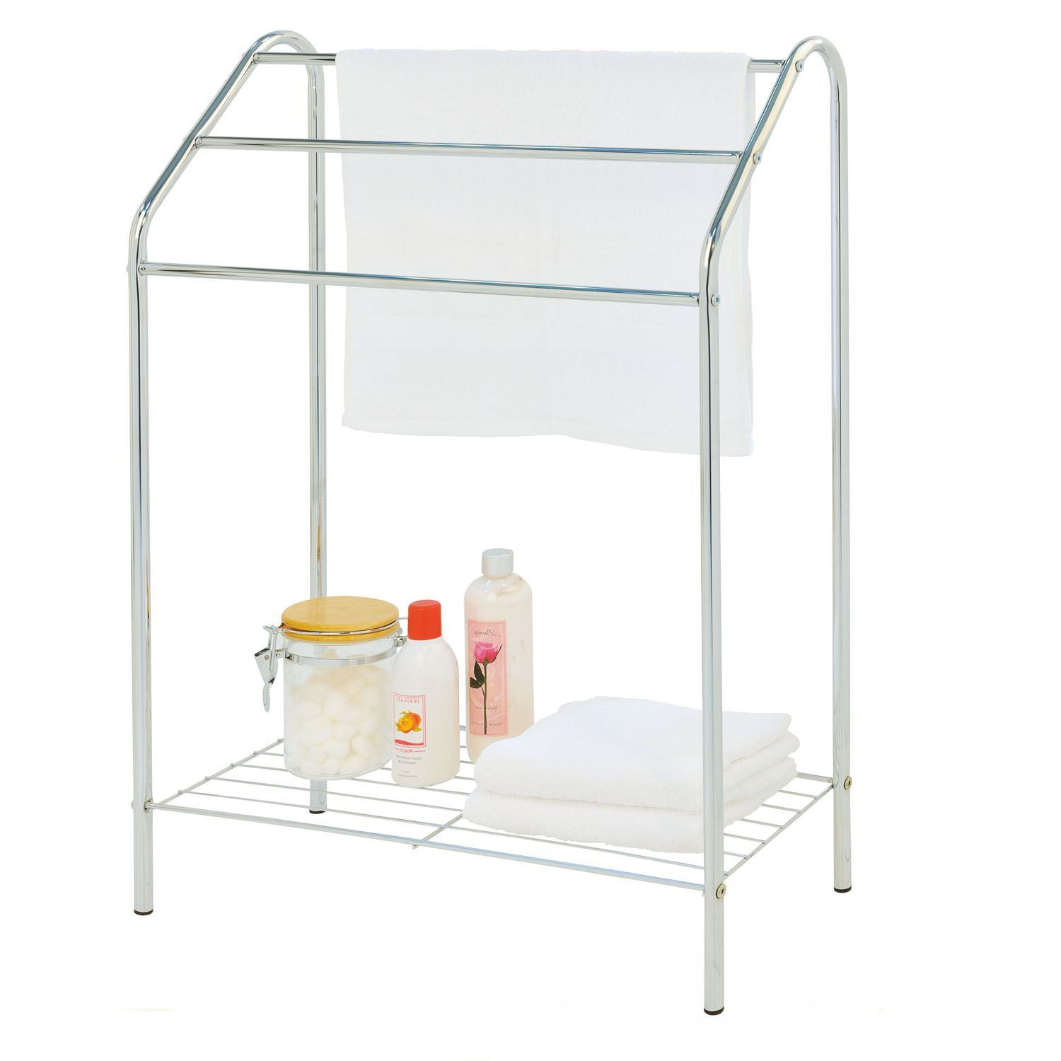 3 Tier Towel Rail Chrome Drying Bathroom Floor Stand Shelf Rack Free Standing Ebay