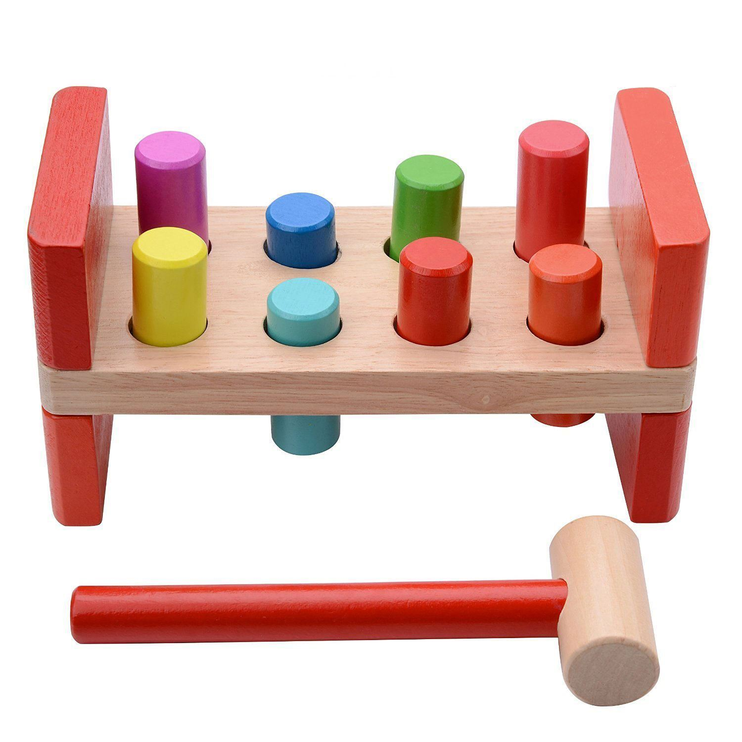Hammer Game Toy : Kids children multi coloured wooden activity hammer baby