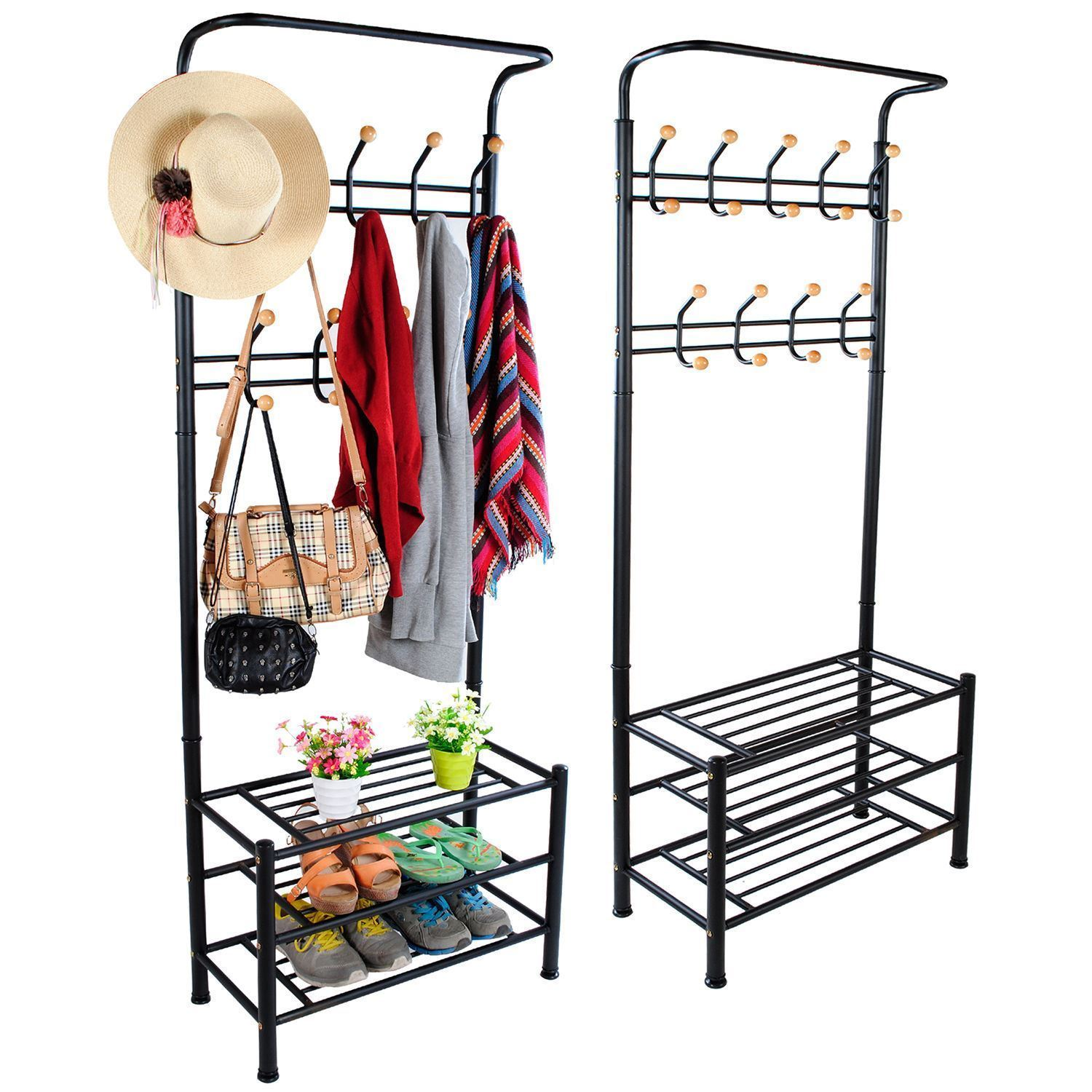 METAL HAT COAT CLOTHES SHOE STAND STEEL PIPE STAND RACK