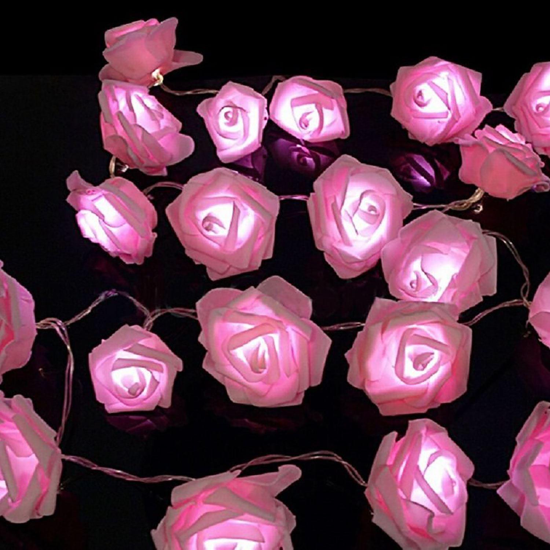Pink/White Leds Rose Flower String Lights Living Bedroom ...