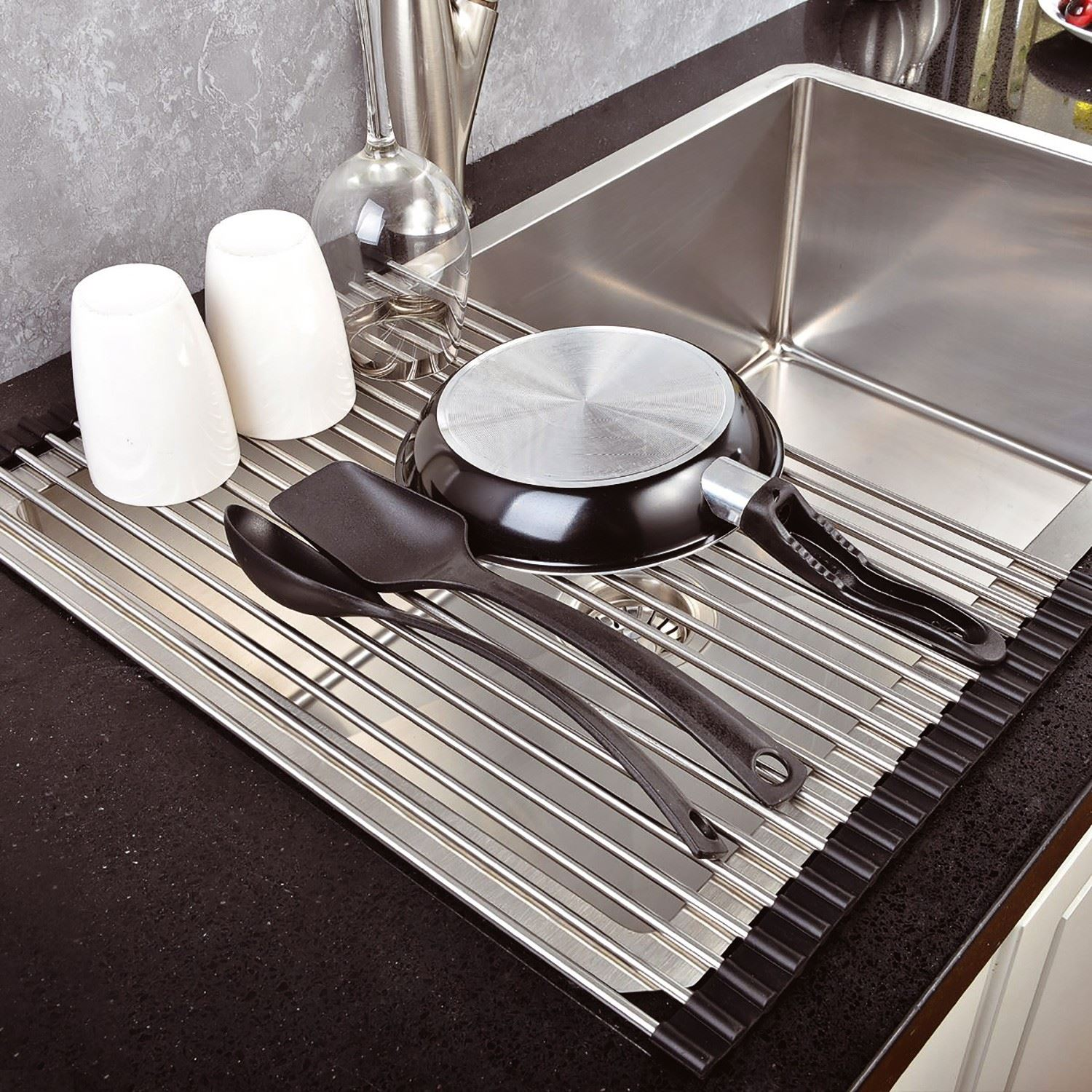 over the sink kitchen dish drainer drying rack roll up foldinng stainless steel ebay. Black Bedroom Furniture Sets. Home Design Ideas
