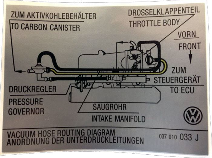 Mk2 Golf Sticker  Vacuum Hose Routing Diagram  Mk2 Golf