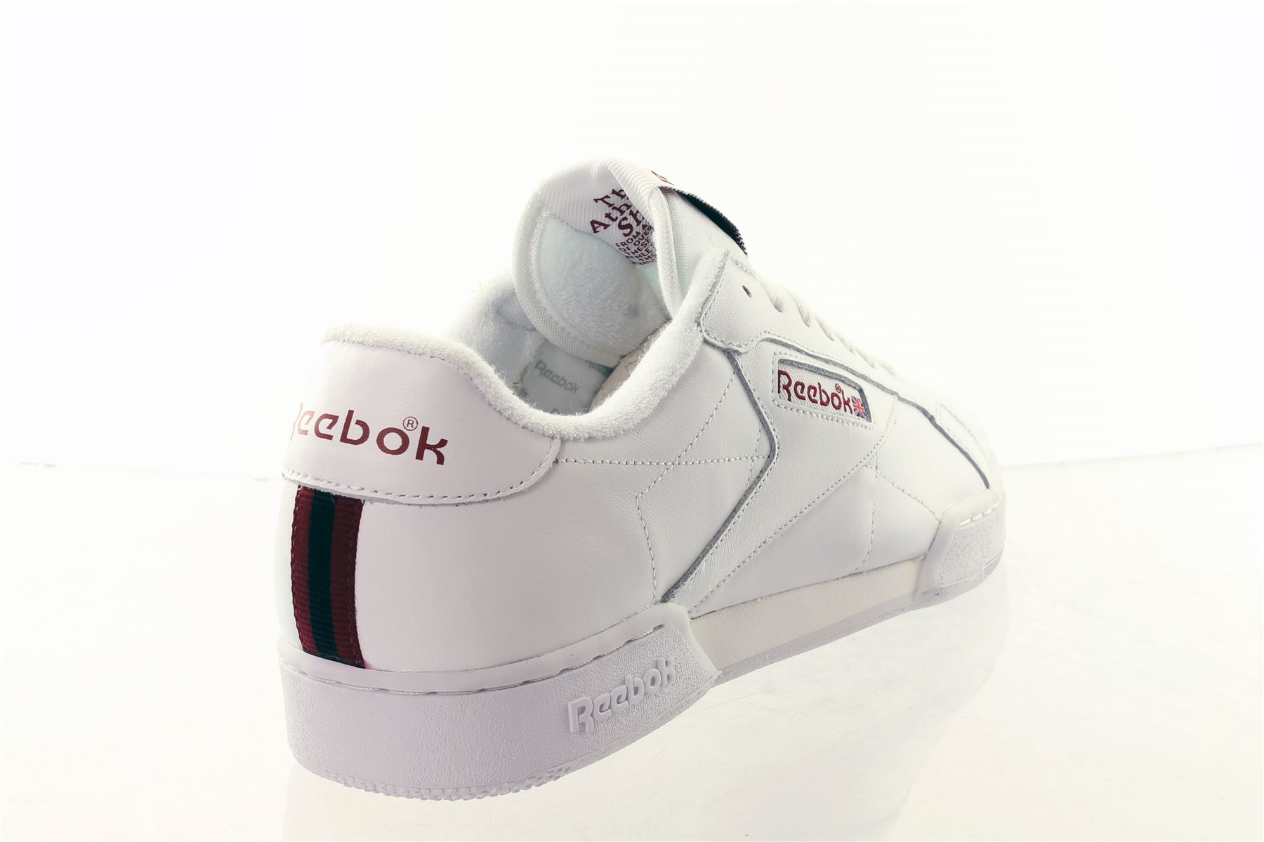 reebok classic npc ii white leather trainers