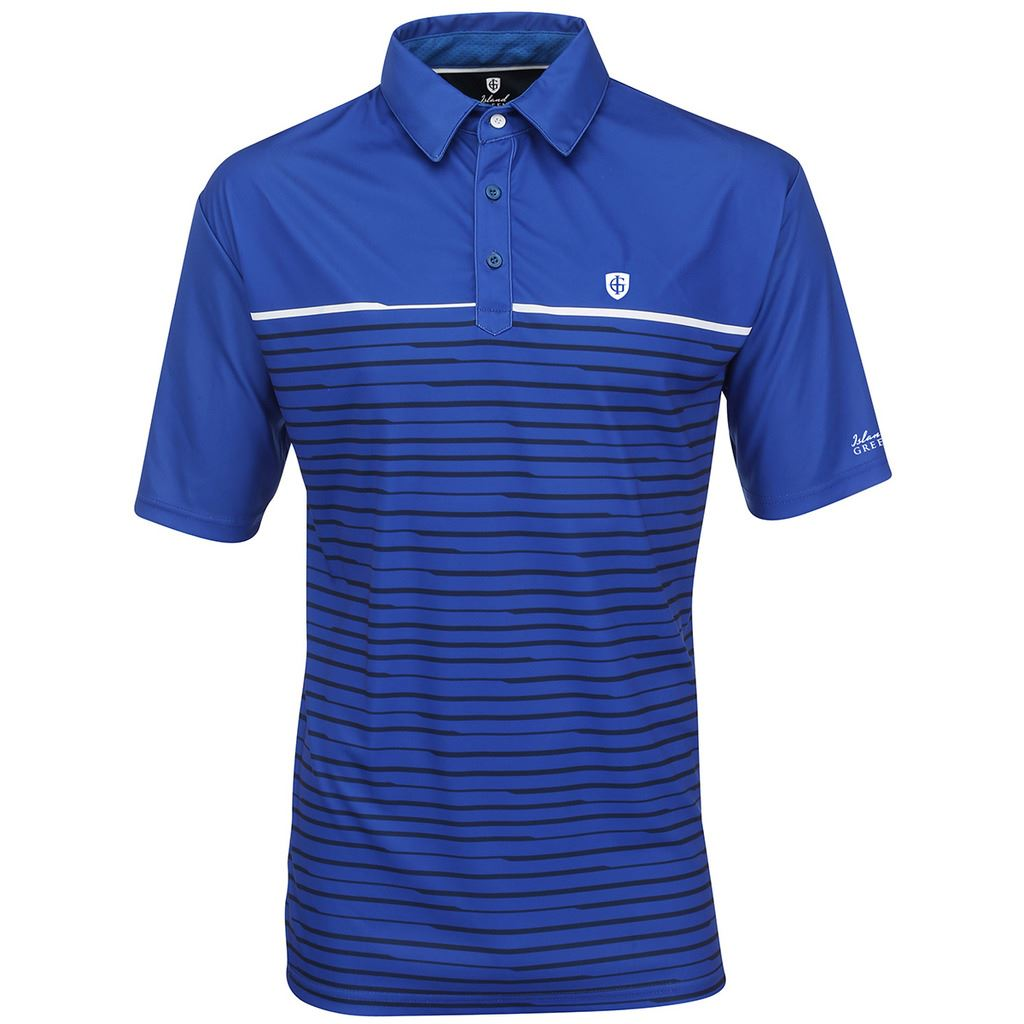 Island green 2016 printed performance logo chest cool pass for Cool mens polo shirts