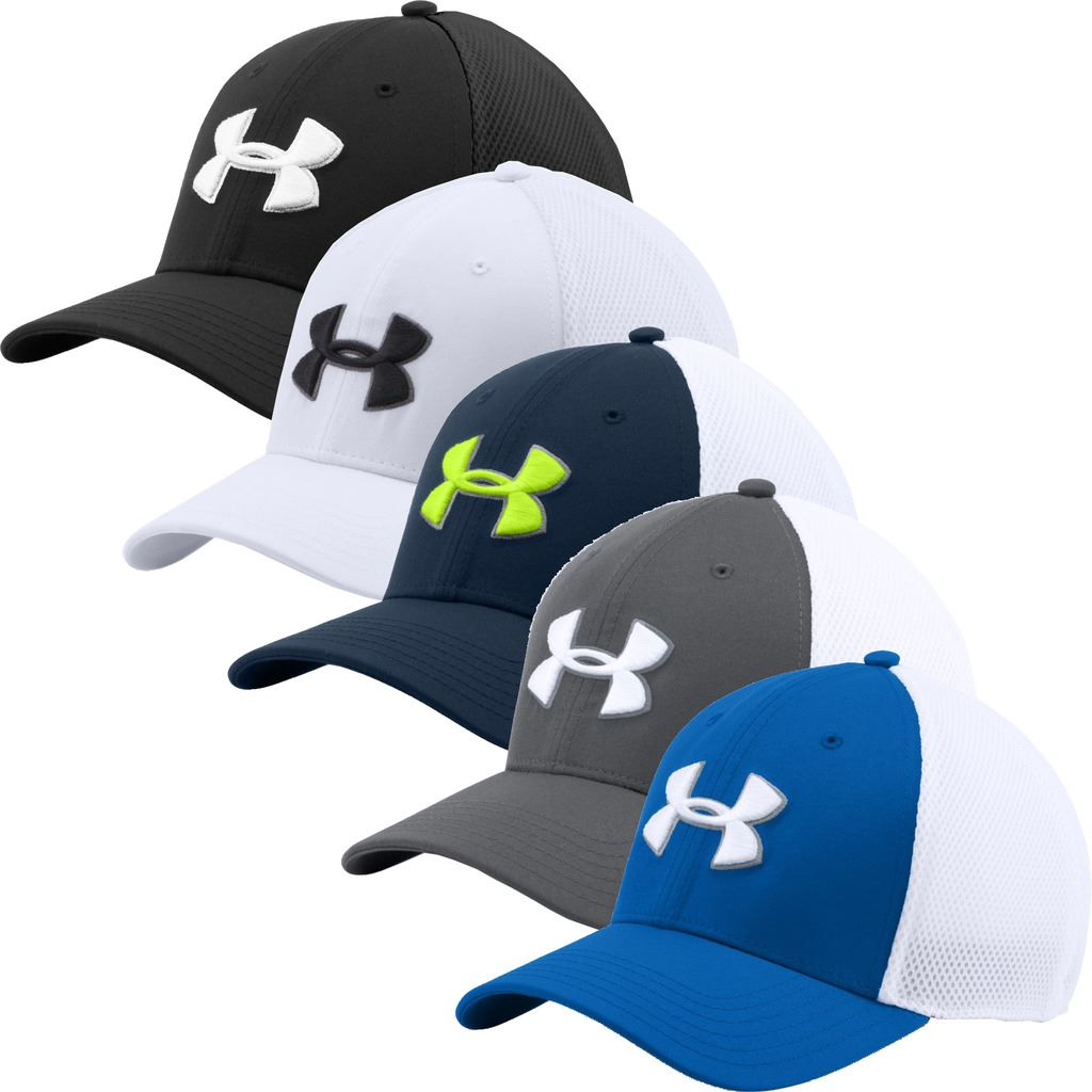 Under Armour 2016 Golf Mesh Stretch-Fit 2.0 Hat Structured Mens Golf ... 768325761d1