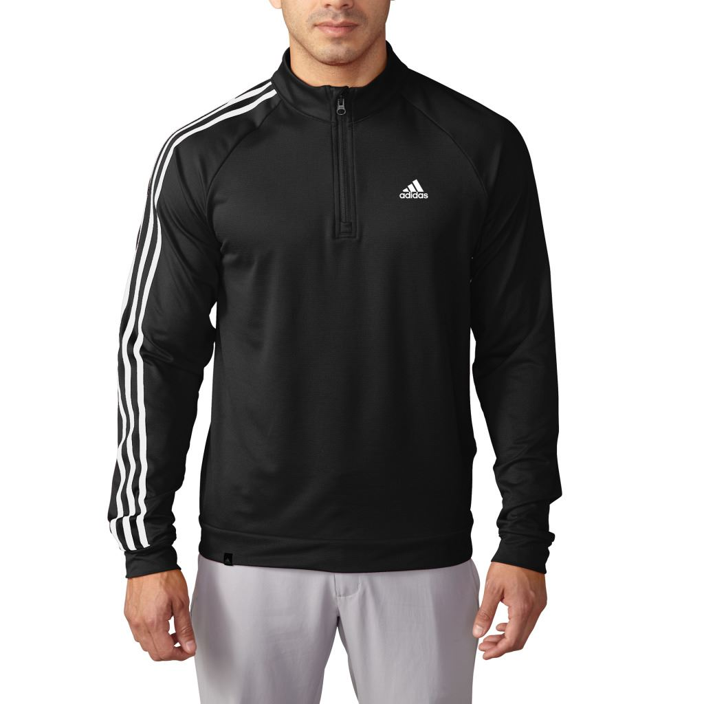 Adidas golf 3 stripes 2016 sleeve 1 4 zip pullover for Pull over shirts for mens