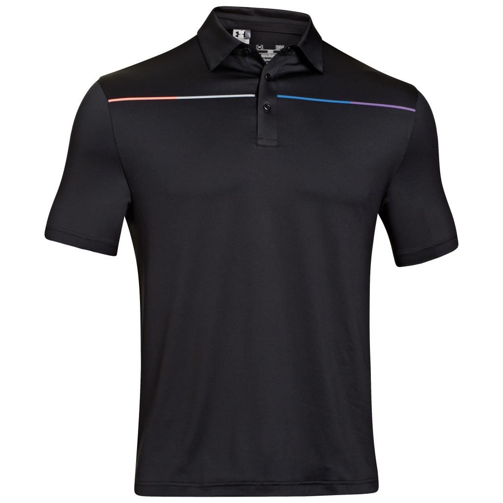 2014 under armour cold black chest stripe golf polo shirt for Black golf polo shirt