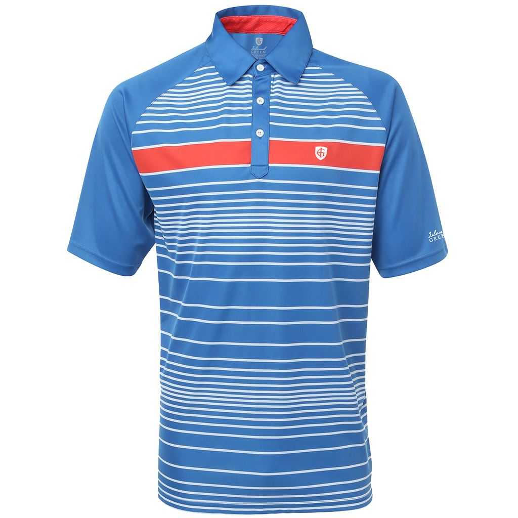 Island green 2016 logo chest engineered stripe cool pass for Cool mens polo shirts
