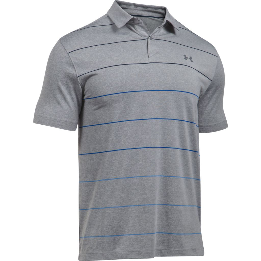 Under armour 2017 mens coolswitch pivot stripe polo golf for Men s performance polo shirts