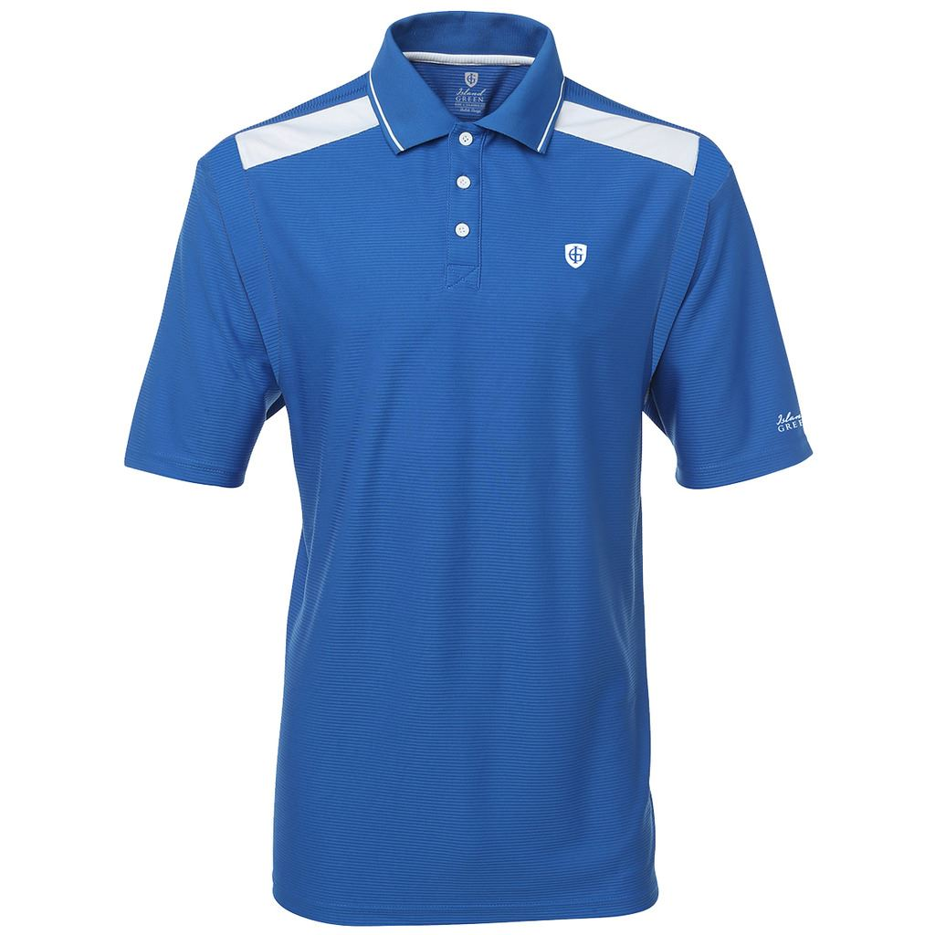 Island green 2016 logo chest performance cool pass printed for Logo printed polo shirts