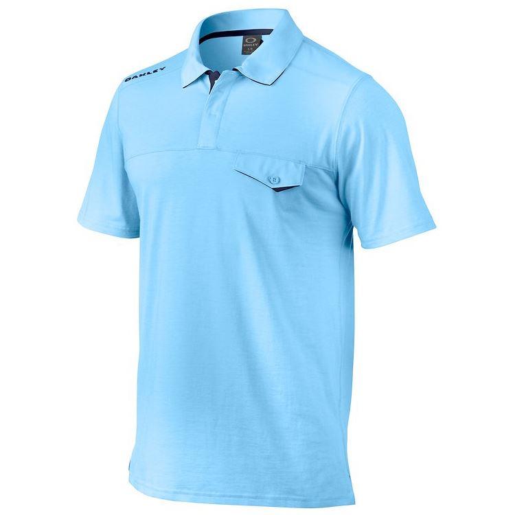 Oakley fluid blue golf shirt louisiana bucket brigade for Large tall golf shirts