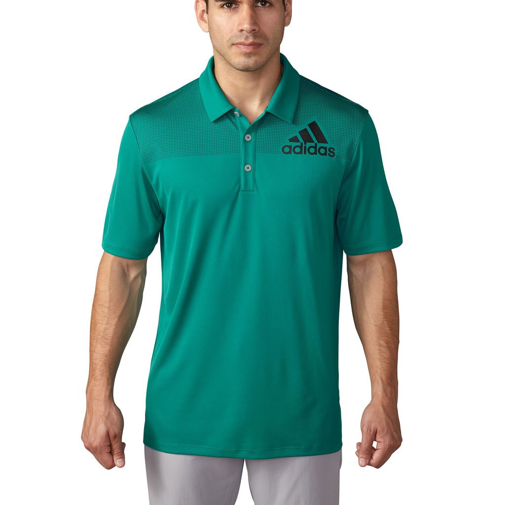 Adidas 2016 big logo dot print lightweight mens golf polo for Mens golf polo shirts