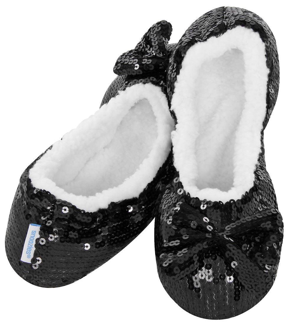 828d838b6690 Ladies Bling Ballerina Sequin Snoozies Slippers UK 3 4 5 6 7 Cosy ...