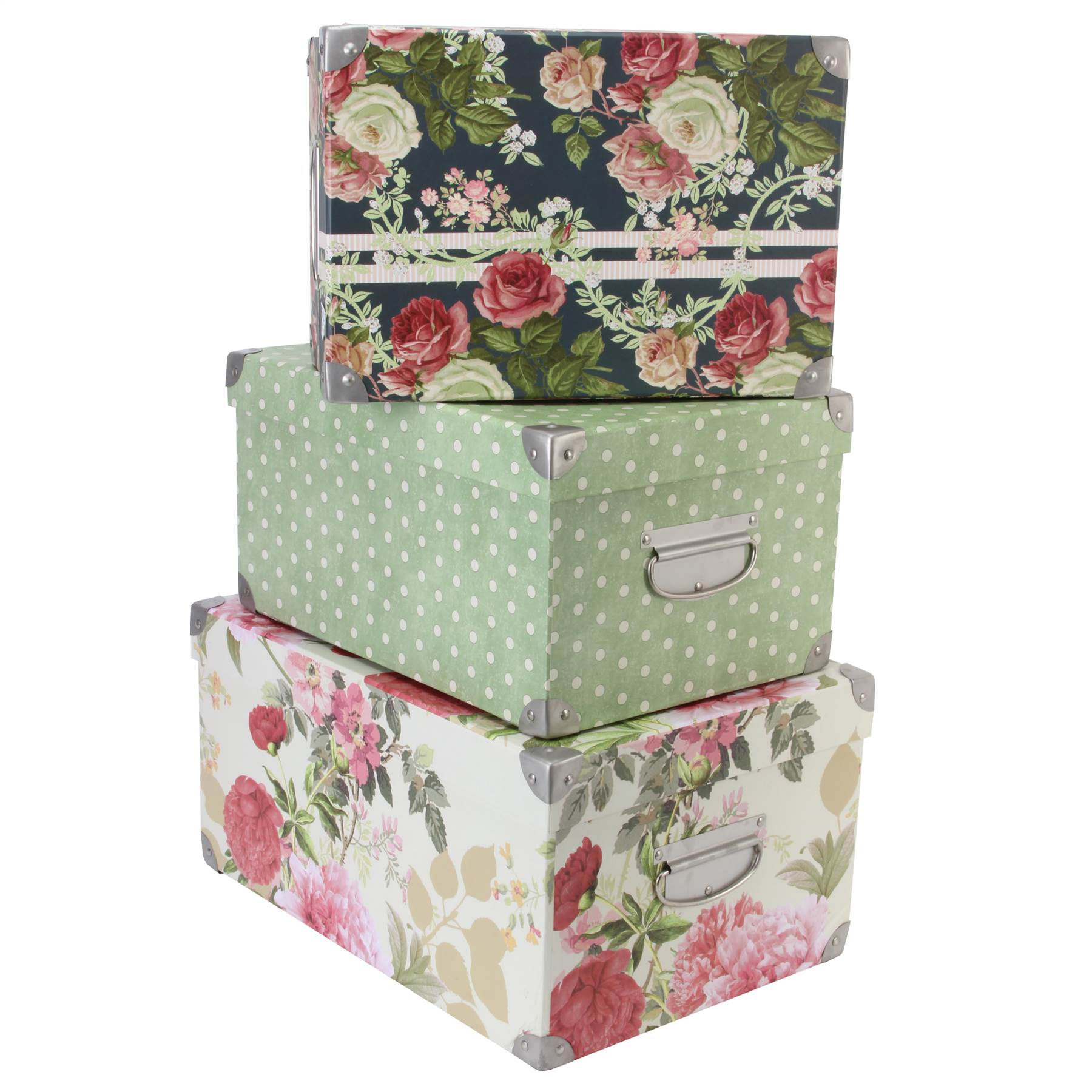 Tri coastal design set of 3 nesting storage box steamer trunks home d cor ebay - Home decorated set ...