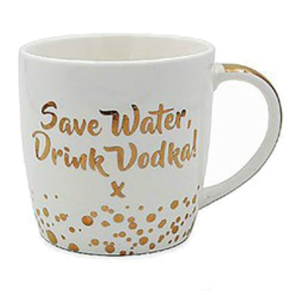 Leonardo china mug bubbly prosecco gin vodka gold white ebay for Vodka prosecco