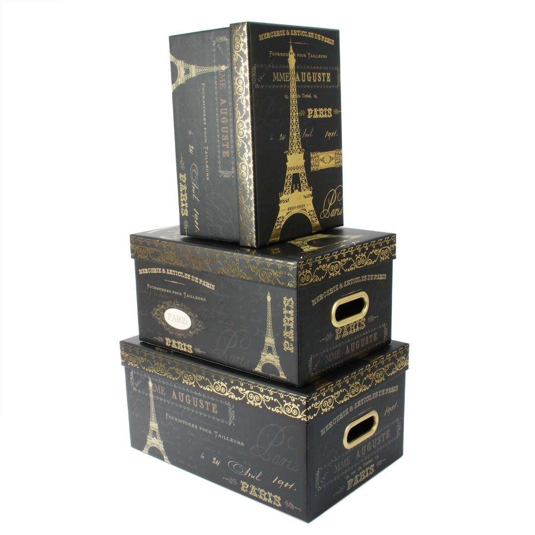 Tri coastal design set of 3 nesting storage box steamer - Decorative storage boxes ...