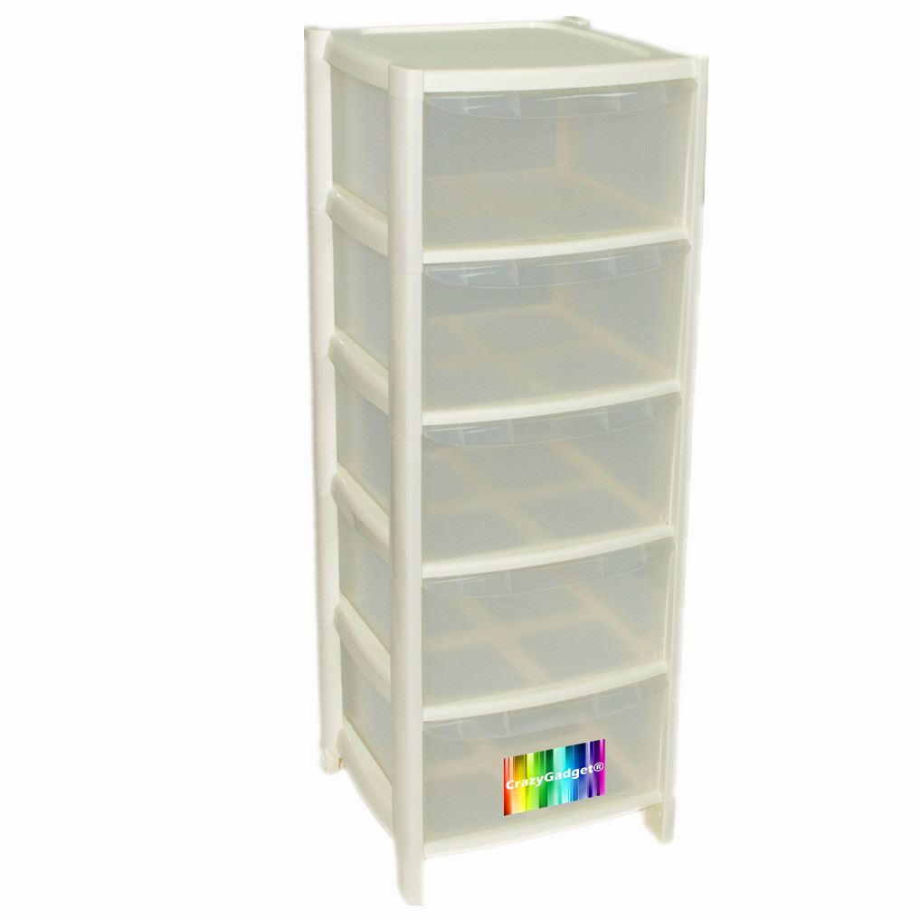 5 Drawer Plastic Large Tower Storage Drawers Unit With
