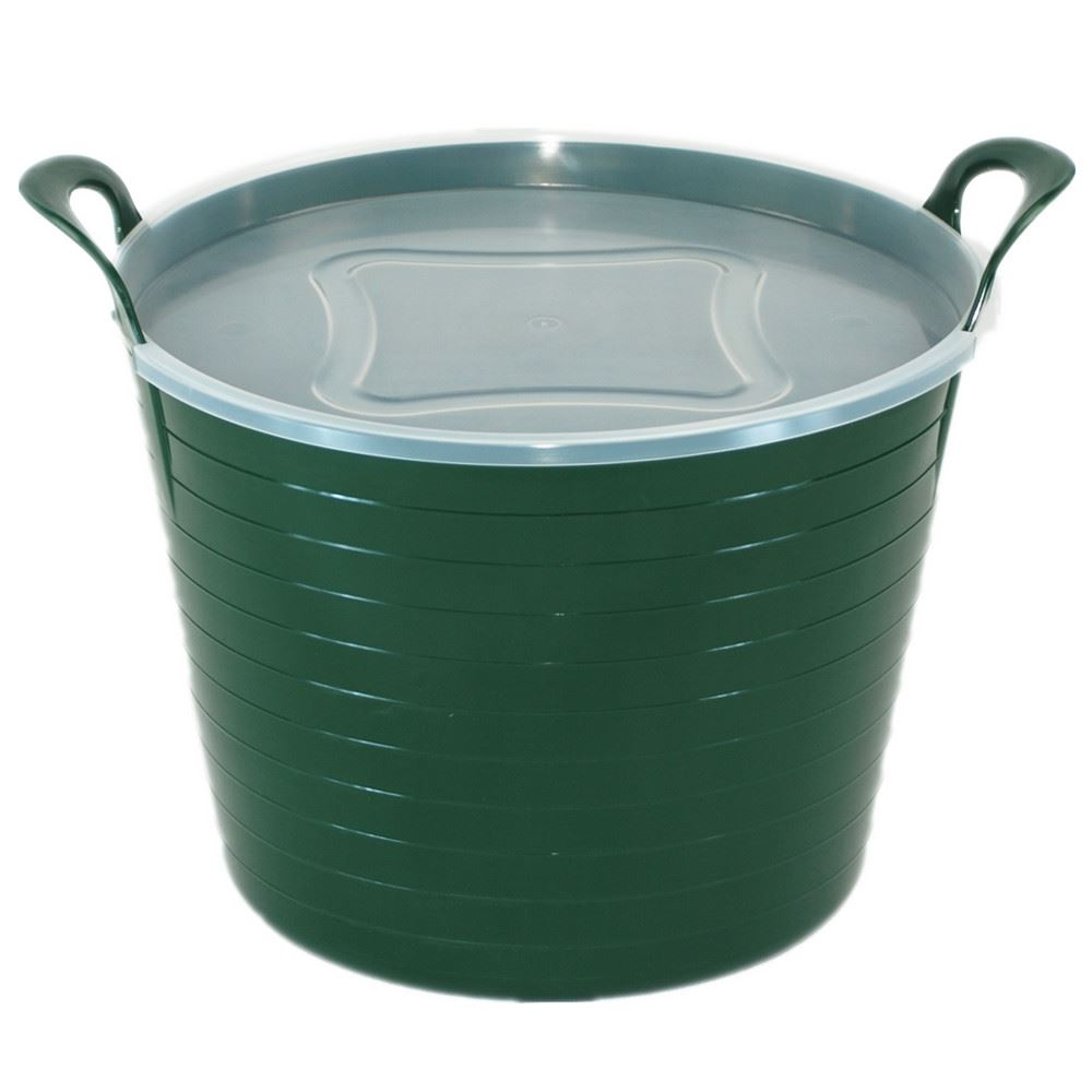 42 Litre Large Flexi Tub Garden Home Rubber Container Bucket With ...