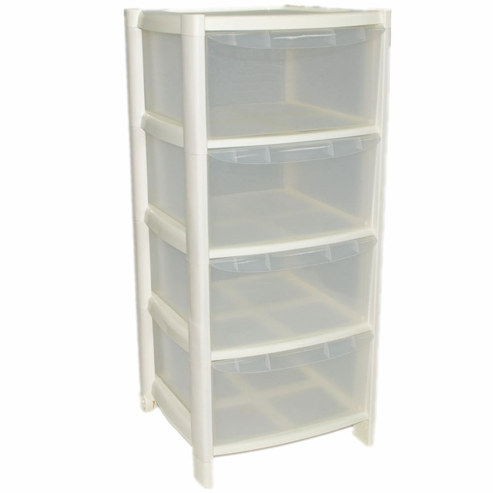 4 drawer plastic large tower storage drawers chest unit with wheels made in u k ebay. Black Bedroom Furniture Sets. Home Design Ideas