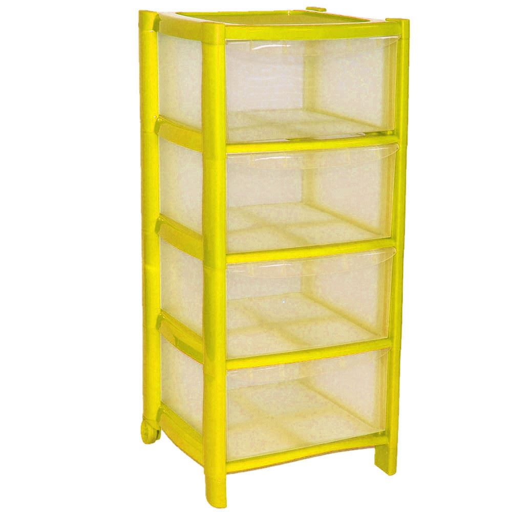 Yellow Drawer Plastic Large Tower Storage Drawers Unit