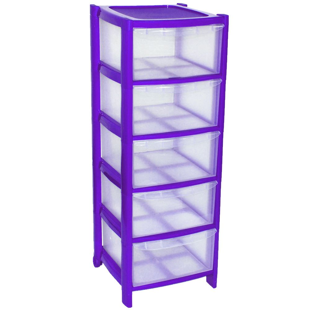 PURPLE Drawer Plastic Tower Storage Drawers Chest Unit ...