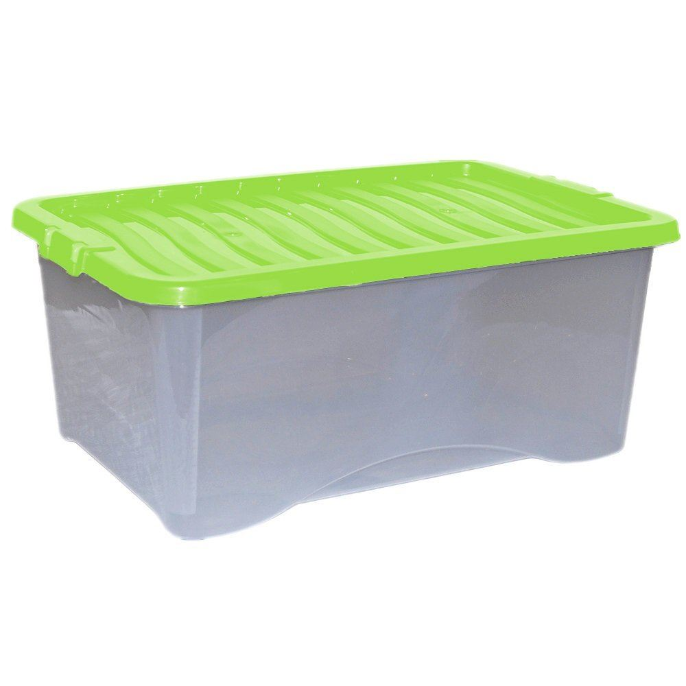 5x 45l plastic storage box strong stackable container with